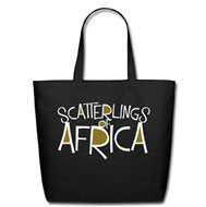 Scatterlings of Africa - Cotton Tote in Black with Design in White and Metallic Gold
