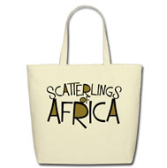 Scatterlings of Africa - Cotton Tote in White with Design in White and Metallic Gold