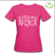 SCATTERLINGS OF AFRICA - White Design on Hot Pink Slim Fit Earth Posative Tee