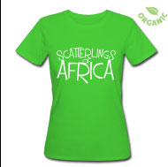 Scatterlings of Africa - White Design on Light Green Slim Fit Earth Posative Tee