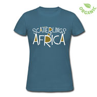 Scatterlings - White and Gold Design on Galaxy Blue Organic Female Slim Fit Tee