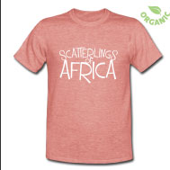 Scatterlings of Africa - Unisex Organic Tee in Heather Red, with design in White on Front