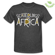 Scatterlings - White and Gold Design on Unisex Organic Heather Black Tee